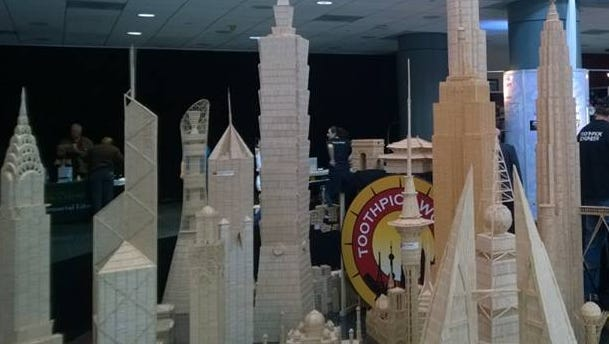 The Barnes & Noble Maker Fair events work in cooperation with the annual Rochester Mini Maker Faire. This toothpick sculpture was on display at the 2014 Rochester Mini Maker Faire.