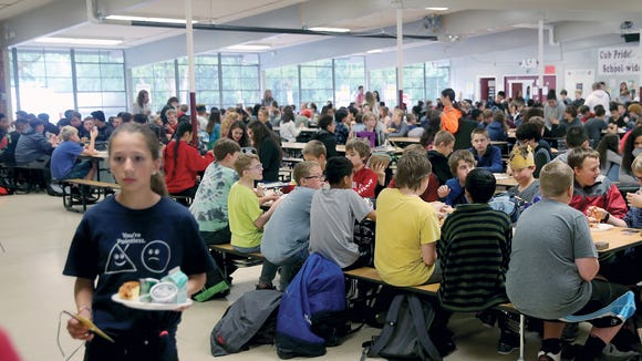 The cafeteria at Central Kitsap Middle School, which was built in 1959. Older buildings like CKMS present particular challenges to improving air quality.