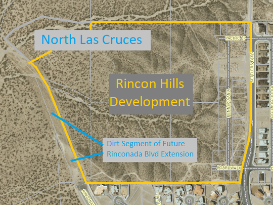 The site of the Rincon Hills subdivision is shown near the north end of Rinconada Boulevard in Las Cruces.
