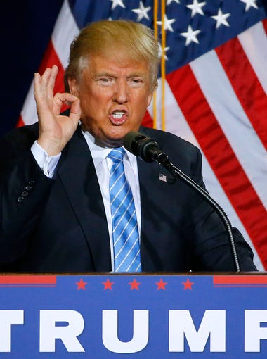 Presidential candidate Donald Trump gestures as he says there will be zero tolerance for criminal illegal immigrants as he  lays out his immigration plan during his rally at the Phoenix Convention Center Wednesday, Aug. 31, 2016 in Phoenix, Ariz.