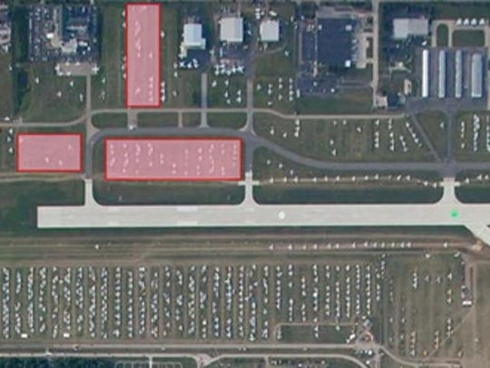 Shaded in red is part of the North 40 area that will be closed to campers and plane parking during the EAA AirVenture convention July 24-31. The yellow-shaded section is expected to be completed by June 10 for aircraft parking.