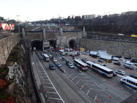 Commuters traveling through the Lincoln Tunnel Thursday morning