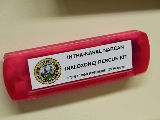 A box of Narcan in the processing area of the Bergen County Prosecutor's Office.