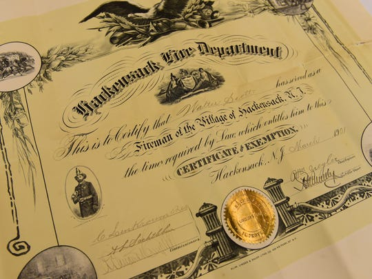 This 1901 Certificate of Exemption issued to Hackensack Firefighter Walter Scott will be archived at the Bergen County Clerk's Office.