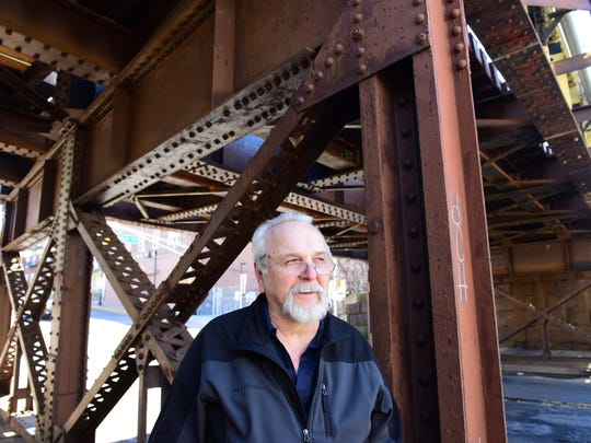 Mike Denistran, 72, of Garfield, has complained to NJ Transit on the condition of the tracks and bridge at the Garfield Train Station at Passaic Street in Garfield on Thursday April 26, 2018.