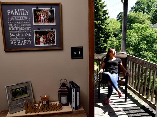 Amanda Zita relaxes at her home in Wanaque.