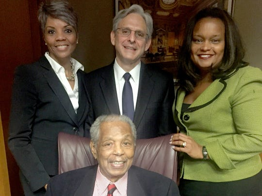 Judge Damon Keith, seated, Faye Nelson, Judge Garland Merrick and Pamela Alexander of the Ford Fund on May 12 in Washington, D.C.