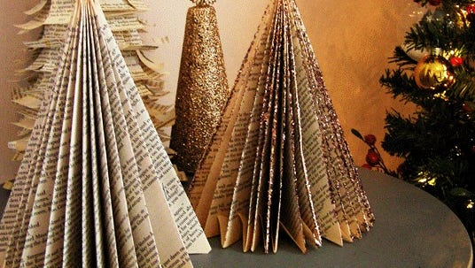 Crafters will turn an old paperback book into this pretty table topper Christmas tree at the Dec. 5 Crafternoon program at the Fond du Lac Public Library.
