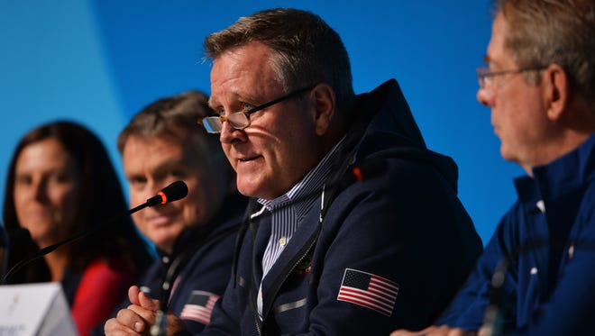 Scott Blackmun, CEO of the United States Olympic Committee, spoke during a USOC Leadership news conference on Aug. 5 in Rio de Janeiro.