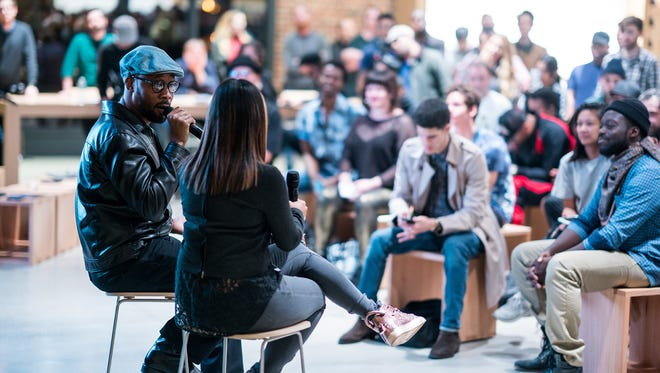 """Hip-hop producer RZA leads an """"Art of Beatmaking"""" Session at an Apple Store in Williamsburg, Brooklyn."""