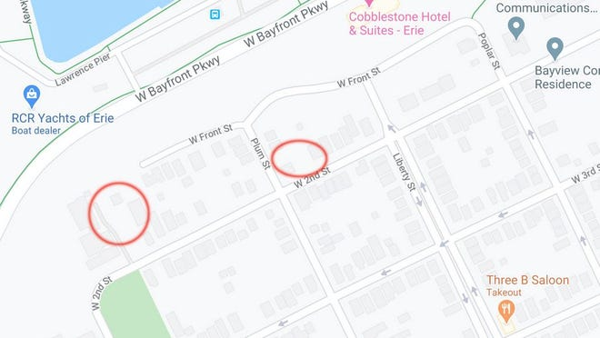 The two properties in question are located at 946 W. Second Street, marked in red at left, and 824-828 W. Second Street, marked in red at center.