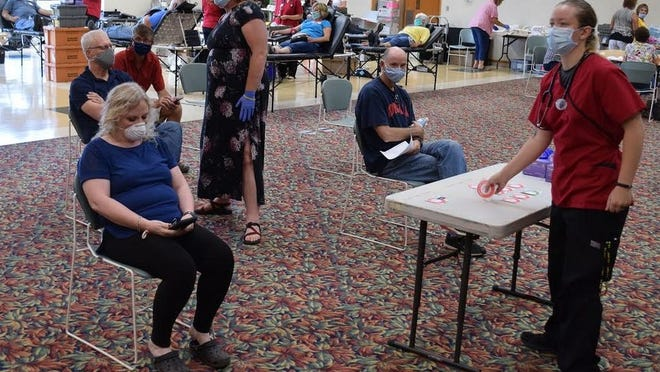 A fairly typical number of donors appeared at this month's Redwood Falls blood drive which was held at the Redwood Area Community Center, but mask wearing and social distancing were strictly enforced.