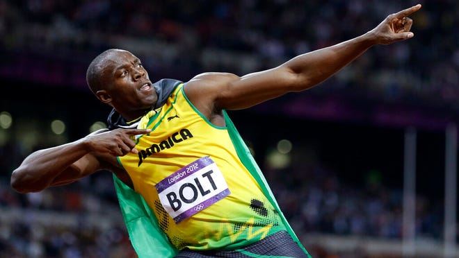 FILE - In this Sunday, Aug. 5, 2012, file photo, Jamaica's Usain Bolt reacts to his win in the men's 100-meter final t the 2012 Summer Olympics in London.