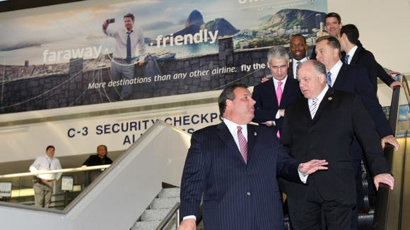 A fairly common sight: Gov. Chris Christie at an airport. This time wasn't to travel, but rather to announce United Airlines' addition of routes serving Atlantic City International Airport in November 2013. (Governor's Office/Tim Larsen)