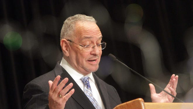 Guest speaker Rev. Dr. Jeremiah A. Wright Jr. delivers a speech at the 30th Rev. Dr. Martin Luther King Jr. Annual Breakfast, in Wilmington, Del., on Monday, Jan. 20, 2014.