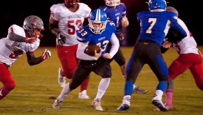 KCD running back Ashton Robinson finds a hole in the Waggener defense.27 October 2017