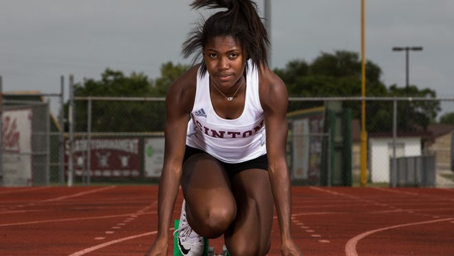 Sinton's MarLee Serrano who qualified for state track in five events, 100 meter dash, 200 meter dash, 400 meter dash, long jump and triple jump.