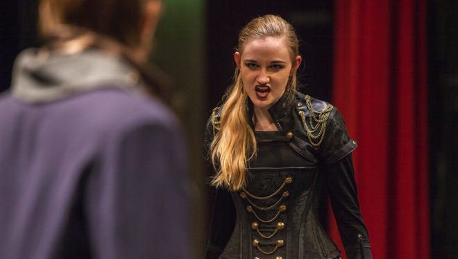 """Sydney Beacham rehearses the role of Javert with Remington Comp as Jean Valjean for Cedar High's production of """"Les Miserables,"""" Monday, Feb. 8, 2016."""