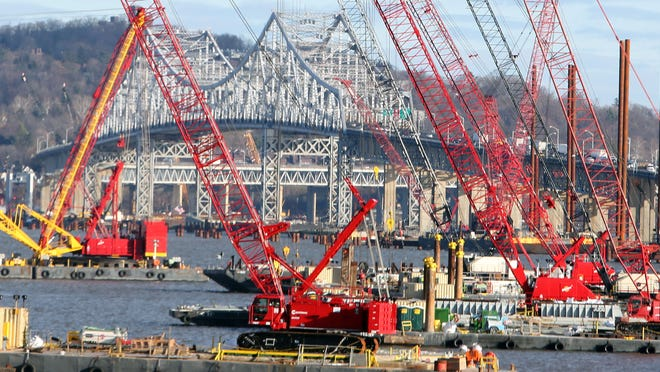Construction under way Dec. 19 at the Tappan Zee Bridge as seen from Rockland.