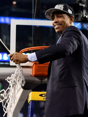 Kevin Ollie celebrated winning a national championship
