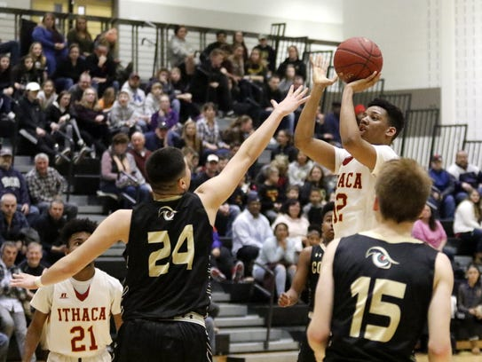 Jordanny Cuevas Marte of Ithaca goes up for a shot