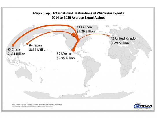 Top five international destinations of Wisconsin exports
