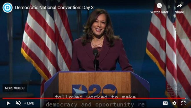 California Sen. Kamala Harris accepts the Democrats' nomination for the vice president, the first Black and Asian woman on a major party's ticket in American istory.