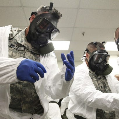 U.S. troops deploying for the fight against Ebola in