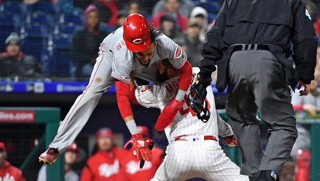 Cincinnati Reds center fielder Billy Hamilton (6) is tagged out at home by Philadelphia Phillies relief pitcher Adam Morgan (46) during the sixth inning at Citizens Bank Park.