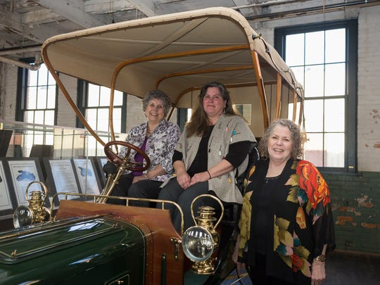 "The daughters of Larry and Dorothy Porter from left, Sally Porter, Amy Porter and Debi Hart pose on their 1904 Ford Model B Tonneau during the Piquette Heritage Day on Sunday, April 8, 2018 at the Ford Piquette Avenue Plant in Detroit. The Porter sisters have loaned their rare collection of ""Alphabet Cars"" to the Ford Piquette Avenue Plant for the next five years."