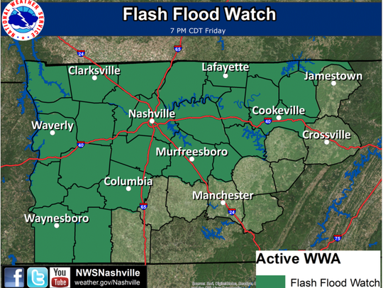 A Flash Flood Watch is in effect through 7:00 PM CDT