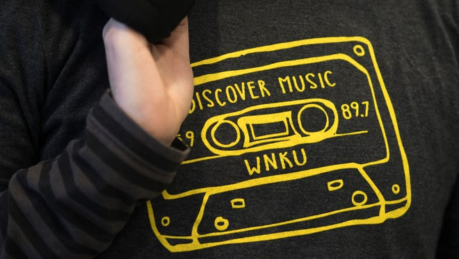 Tues., Feb. 14, 2017: Steve Felix, a computer science major, wears a WNKU T-shirt as the NKU's Board of Reagents were in executive session, discussing the sale of the WNKU public radio station to Bible Broadcasting Corp.