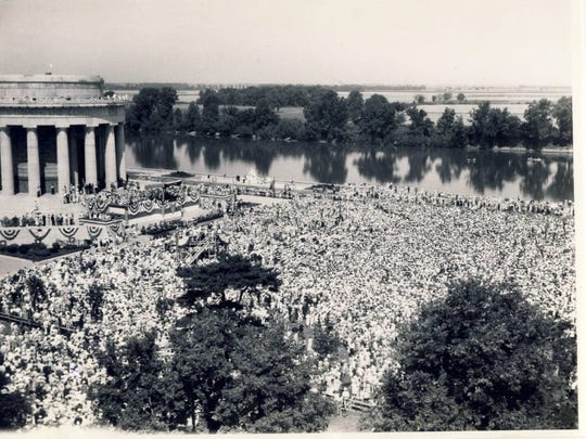 A crowd of 45,000 gathered to hear Franklin D. Roosevelt speak at the new George Rogers Clark Memorial in Vincennes, Ind. in 1936.