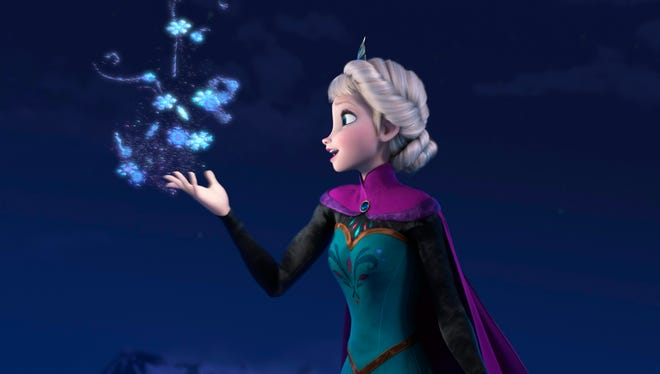 """Elsa the Snow Queen, voiced by Idina Menzel, in a scene from the animated feature """"Frozen."""" The film was nominated for a Golden Globe for best animated film on Thursday, Dec. 12, 2013.  The 71st annual Golden Globes will air on Sunday, Jan. 12."""