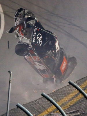 Christopher Bell flips over during a last-lap crash in the NextEra Energy Resources 250 at Daytona International Speedway.