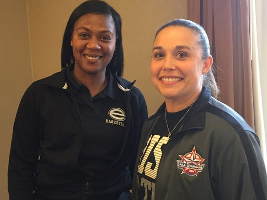 Byrd's Toni Martinez, right, will coach the 2018 LHSBCA All-Stars with assistance from Evangel's Meoka Young.