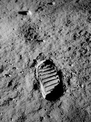 "Bootprint of Astronaut Edwin F. ""Buzz"" Aldrin Jr., lunar module pilot, on the surface of the moon for the Apollo 11 mission."