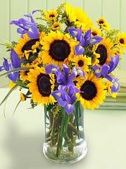 Iris and Sunflower Centerpiece