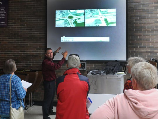 Department of Transportation representatives were on hand before and after its Public Involvement Meeting to answer questions about two roundabouts on Tuesday at Sturgeon Bay High School.