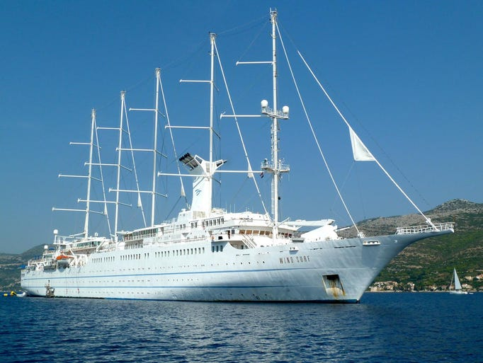The largest sail-equipped ship in the world (along with sister ship Club Med Cruises' Club Med II) and the largest in Windstar Cruises three-vessel fleet, the Wind Surf is 617 feet long (535 feet at the waterline), 66 feet wide, has a draft of 16.5 feet and measures 14,745 gross tons.