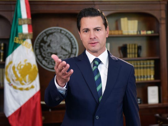 This handout picture released by the Mexican Presidency shows President Enrique Pena Nieto delivering a televised message referring to the relationship between Mexico and the United States at Los Pinos presidential residence in Mexico City on April 5, 2018.