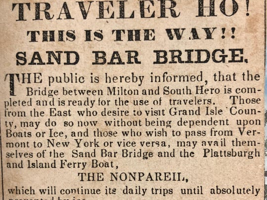 Announcement of the completion of the Sand Bar Bridge to South Hero.