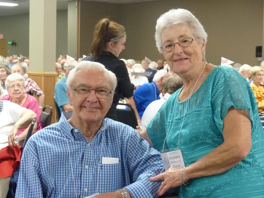 Mel Sanquist of the Class of 1938 poses with Barb Dunst,