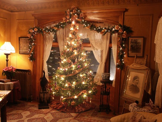Christmas trees fill the Van Orden Mansion in Baraboo