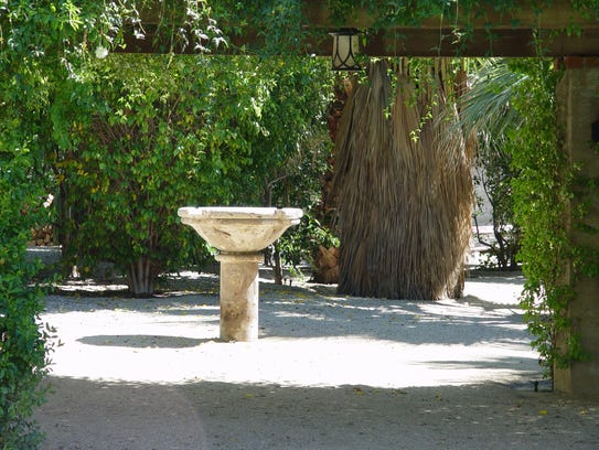 An outdoor baptismal font at Colony 29 in Palm Springs