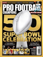 "The cover of ""Pro Football Champions: 50th Super Bowl Celebration."""