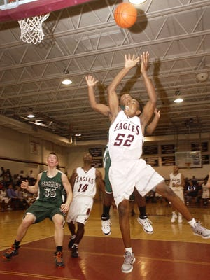 Snow Hill's Kevin Ayers goes up for a rebound in the first half against Parkside on Monday, Dec. 15. Eric Doerzbach photo