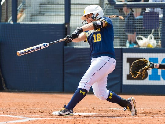 Lindsay Montemarano, who bats seventh in the order for the Wolverines, is hitting .333 with 10 home runs this season.