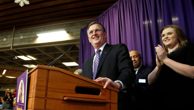 Mark Nook, an Iowa native and current chancellor of Montana State University Billings, speaks to the student body, faculty and staff after he is announced as the 11th president of the University of Northern Iowa by the Iowa Board of Regions in Maucker Union Tuesday, Dec. 6, 2016, in Cedar Falls, Iowa. Nook will assume his new position on Feb. 1. (Matthew Putney/The Courier via AP)