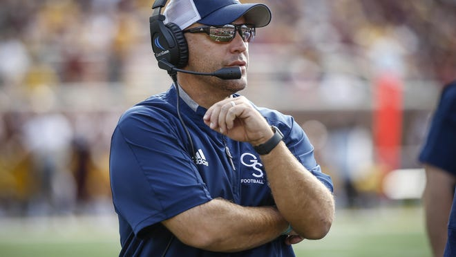 Georgia Southern head coach Chad Lunsford, shown on Sept. 14, 2019, and the Eagles open their 2020 schedule against Campbell on Saturday, Sept. 19, at 3:30 p.m. at Paulson Stadium in Statesboro.